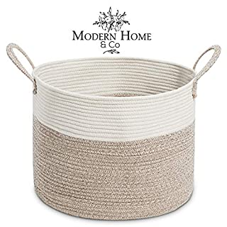 Modern Home & Co XXL Cotton Rope Basket 20X13.3 Woven Laundry Baskets Storage Bins,Thread Hamper Decorative Clothes Wicker Bin Long Handles Extra Large for Blanket,Pillows,Toy,Coiled (Mix Brown)