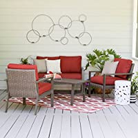 Leisure Made 4 Piece Preston Wicker Seating, Red Fabric