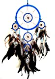 Dream Catcher Traditional Native Style TURQUOISE BLUE SUEDE Dreamcatcher With Bone Beads & Feathers – 28″ Long x 8″ Diameter – OMA BRAND
