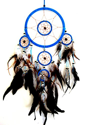 Dream Catcher Traditional Native Style TURQUOISE BLUE SUEDE Dreamcatcher With Bone Beads & Feathers - 28'' Long x 8'' Diameter - OMA BRAND by OMA
