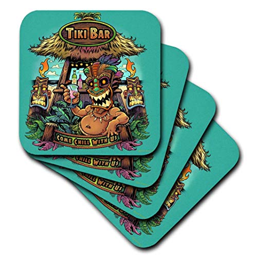 - 3D Rose Guy Hanging Out at A Tiki Bar Soft Coasters Multicolor