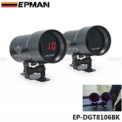 EPMAN 37mm Compact Micro Digital Smoked Vacuum Gauge Universal 3-4-6-8 Cylinder Engines (Black)