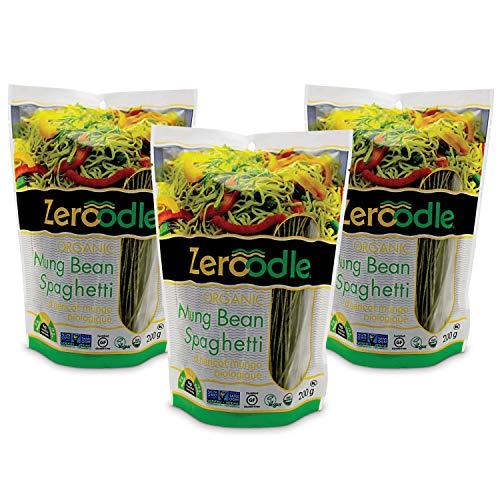 Zeroodle 3-Pack Low Net Carb Gluten Free Vegan Pasta - Organic Mung Bean Edamame Spaghetti Noodles - High Protein