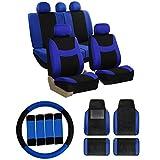 FH GROUP FH-FB030115 Combo Set: Light & Breezy Cloth Seat Covers (Airbag & Split) W. FH2033 + F14407 Carpet Floor Mats Blue / Black Color