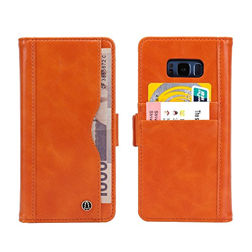 Samsung Galaxy S8 Plus Multifunctional Cellphone Case Cover With Card Slot Cash Compartment,PU Leather Case,Automatic Adsorption,Ultra-Strong Magnetic (Orange Samsung Galaxy S8 Plus) by JUKAI