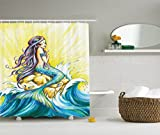 Little Mermaid Shower Curtain Decorations by Ambesonne, Mermaid Sitting on Rock Sunny Day Design and Pencil Drawing Effect, Fabric Bathroom Shower Curtain Set with Hooks, Blue Yellow Purple White