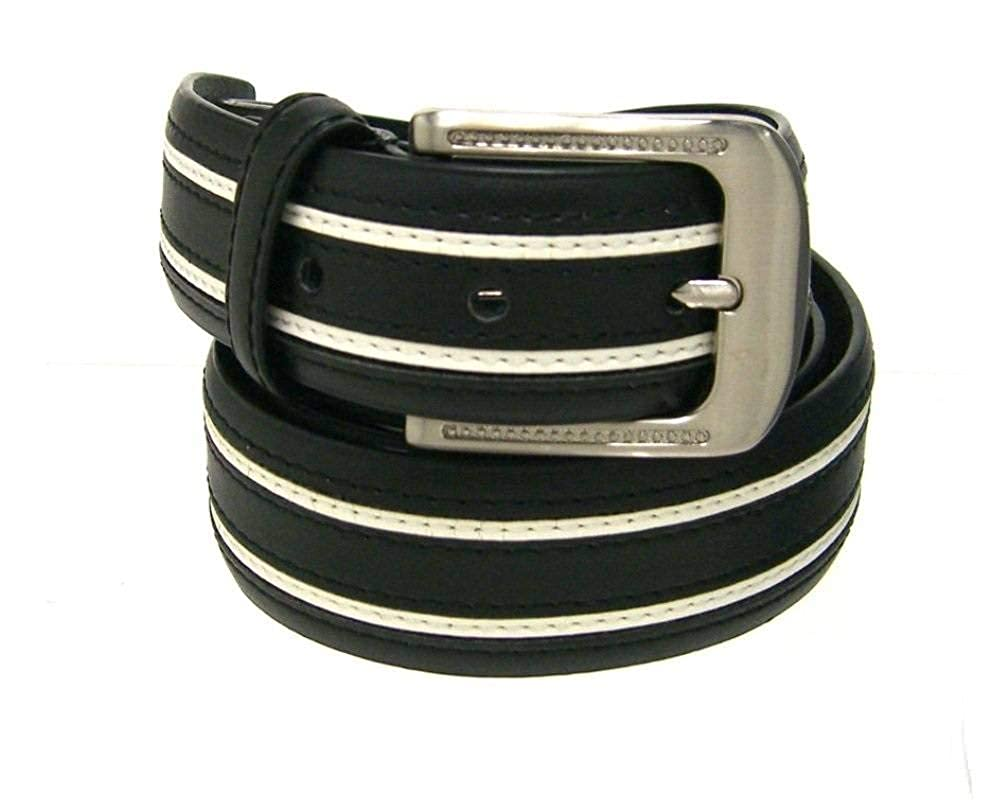 RDumani Mens Belts Top Grain and Split Leather Belts Black with White Inlay 35mm Up to 44-40