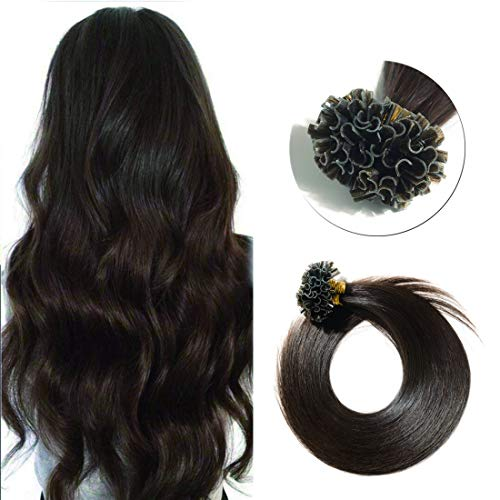 U Tip/Nail Tipped Pre Bonded Remy Human Hair Extension Italian Keratin Fusion Bonding Hair Piece for Women Silky Straight 100 Strands/pack #2 Dark Brown 16 inches 50g