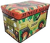 Jungle Safari Foldable Pop Up Room Tidy Storage Chest Toy Box, Fabric Multi-Colour, 50 x 30 x 40 cm