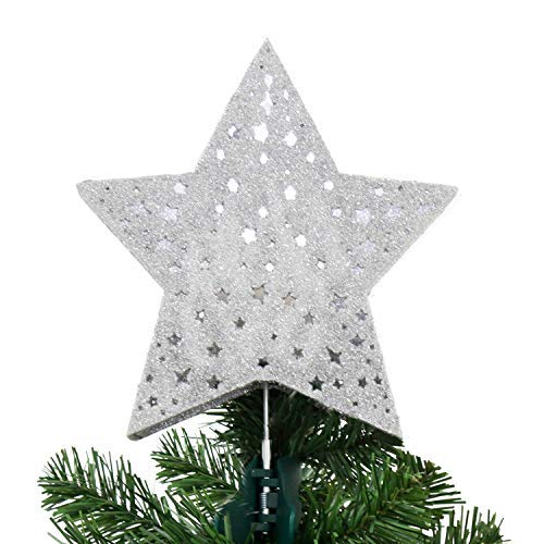 EAMBRITE 9 Hollow Silver Star Christmas Tree Topper with Rotating Magic Cool White Snowflake Projector for Xmas Tree Decoration