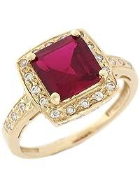 14k Yellow Gold Synthetic Ruby White CZ Elegant Ladies Ring