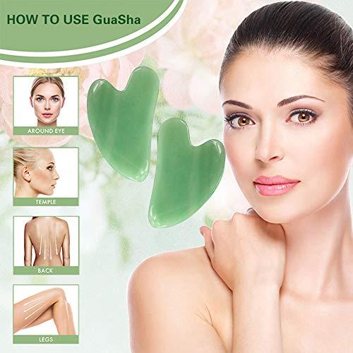 Gua Sha Facial Tool, Natural Jade Stone Guasha Board for SPA Acupuncture Therapy Trigger Point Treatment, Gua Sha Scraping Massage Tool