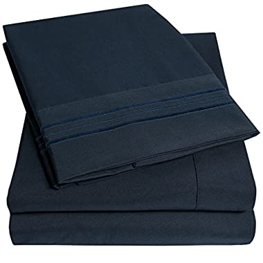 1500 Supreme Collection Bed Sheets - PREMIUM QUALITY BED SHEET SET & LOWEST PRICE, SINCE 2012 - Deep Pocket Wrinkle Free Hypoallergenic Bedding - Over 40+ Colors & Prints- 4 Piece, King, Navy