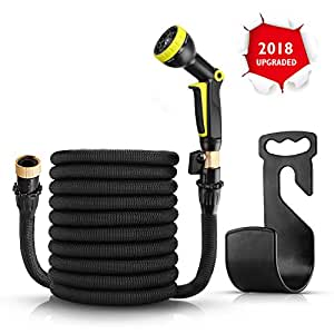 """50ft Garden Hose - Expandable Water Hose with Triple Latex Core, 3/4"""" Solid Brass Fittings - Flexible Water Hose with 9 Spray Pattern Nozzle, Carrying Bag and Hanger - No-Kink Extra Strength Flexible"""
