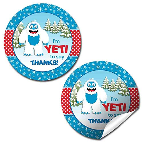 Abominable Snowman Adorable Yeti Winter Themed Birthday Party Thank You Sticker Labels, 40 2