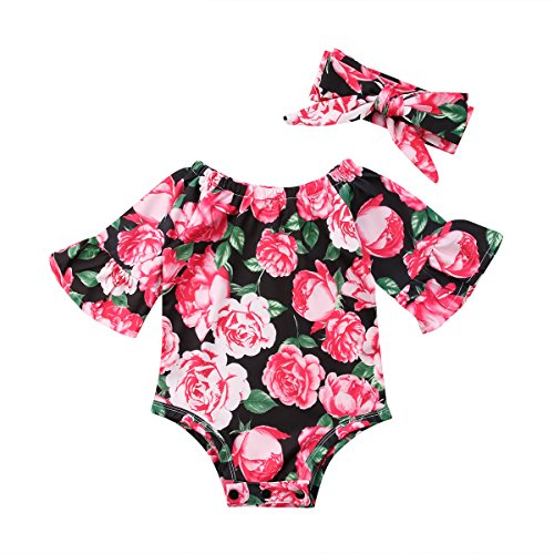 Newborn Baby Girl Floral Bodysuit+Headnband 2pcs Summer Flare Sleeve Fashion Jumpsuit 0-24Months (0-6 Months, Red)