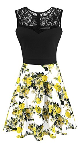 Heloise Fashion Women's A-Line Pleated Sleeveless Little Cocktail Party Dress Black Lace Yellow Flowers (S, Black Top)