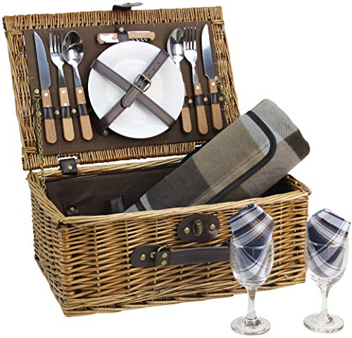 Wicker Picnic Basket for 2 Persons with Cutlery Service Set, Willow Hamper Supplies Kit Best Gift for Father Mother Outdoor Party -