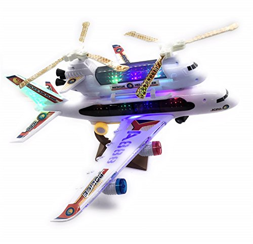 2-in-1 Kids Airplane & Helicopter Toy Bump & Go Action Airplane Toy A330 Airliner Airbus w/ Attached Rescue Helicopter , Flashing 4D Lights & Jet Engine Sounds | Take-A-Part Airplane Toy For Kids ()