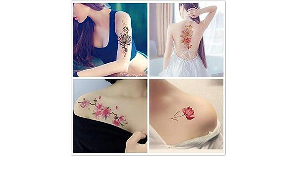 Etiquetas engomadas del tatuaje flor impermeable mujer imagen ...