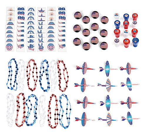 Patriotic 4th of July Mega Party Favor Assortment and Parade Party Set Bulk Pack of 120 Prizes Including Red White Blue Independence Day Tattoos, Stampers, Gliders, Star Necklaces, American Flag Yoyos (Yo Yo Maker Flower)