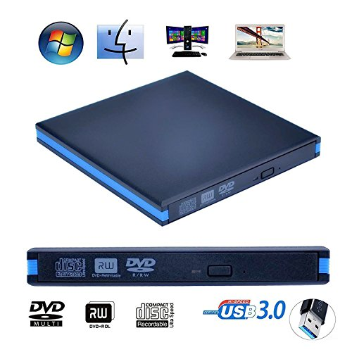 External CD Drive USB 3.0 Ultra Slim External DVD CD Drive CD DVD RW DVD CD ROM Drive Writer Rewriter USB CD Burner For High Speed Data Transfer For Laptops Desktops and Notebooks BY Aooking(Blue) (Usb Burner For Laptop)