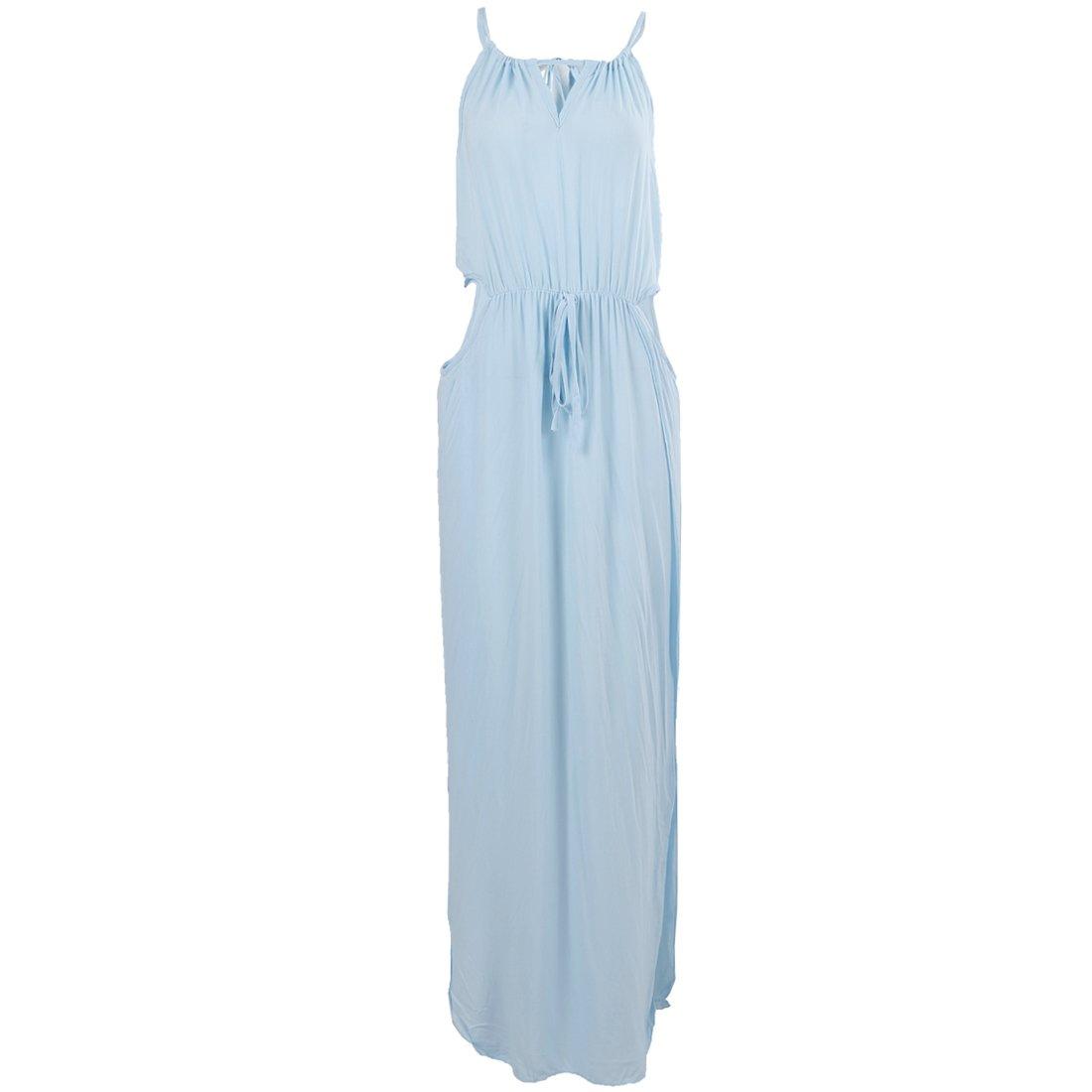 SODIAL(R) Summer Women Fashion Sexy Long Beach Dresses Light Blue M
