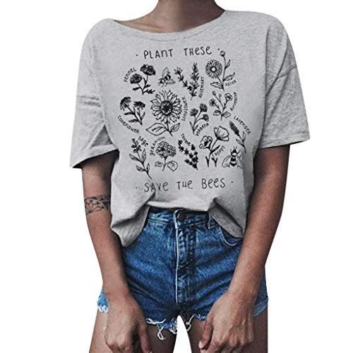 - Womens T-Shirt Juniors Letter Printed Graphic Tees Casual Summer Funny Short Sleeve Tops Blouse Gray