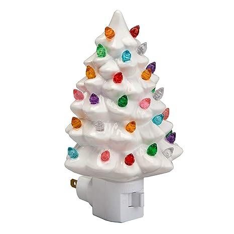 White Ceramic Christmas Tree.Decorative Ceramic Christmas Tree Night Light White 1 Pack