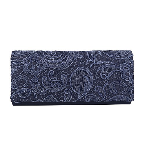 SATIN PROM HotStyleZone MULTICOLOUR FLORAL HANDBAG BAG Navy WEDDING blue LADIES EVENING CLUTCH BAG LACE Zwa46qExa