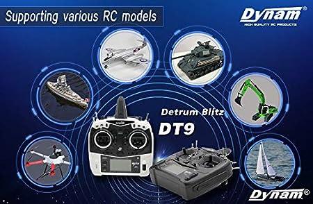 Detrum Smart Blitz DT9 Blue Transmitter Mode 2 with Sr86A-GPS Autopilot gyro Receiver Date Back Return Home for rc Boat//car//Heli//Airplane