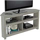 Inval MTV-17019 Corner TV Stands, Smoke Oak