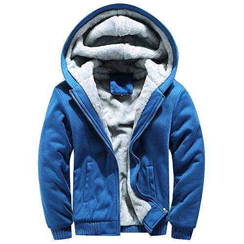 VEZAD Coat Mens Hoodie Winter Warm Fleece Zipper Sweater, used for sale  Delivered anywhere in USA