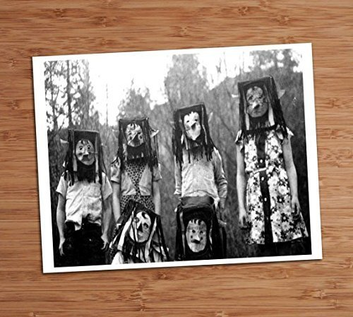 Creepy Kids Paper Bag Masks Group Vintage Photo Art Print 8x10 Wall Art Halloween Decor -