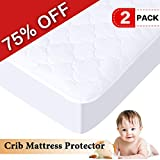 H.VERSAILTEX 100% Waterproof Crib Size Premium Mattress Protector Hypoallergenic, Vinyl Free, Breathable Soft Cotton Terry Surface (52'' x 28'', 2 packs)