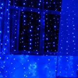 Linkable Design Curtains Light, AGPtek 3Mx3M 300LED 8 model connectable lighting Fairy String Light for Wedding ceremony Christmas Party Holiday Celebration Occasions -- Blue