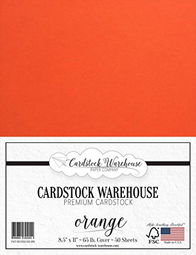 Orange Cardstock Paper - 8.5 x 11 inch - 65 lb. - 50 Sheets Premium Cover from Cardstock Warehouse