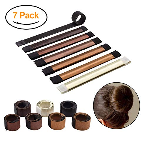 Donut Bun Maker by Sheevol Beauty, Hair Bun Making Styling, Fashion Hair Styling Disk, Hair Band Accessory, DIY Hair Styling Tool for Women Girls, 7 Pack (7 colors) (Diy Hair Updos For Medium Length Hair)