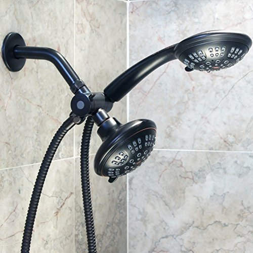 6 Function Dual Shower Head Combo - High Pressure, Adjustable Handheld & Fixed Showerheads With Hose & Diverter And Double Removable Rainfall Spray Heads - Oil-Rubbed Bronze