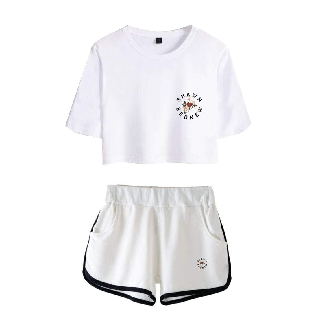 83edd1002b949 CTOOO T-Shirts Shorts Shawn Mendes Vêtements Commémoratifs Femme Ado Casual  Ete XS-XXL Shorts et bermudas Vêtements