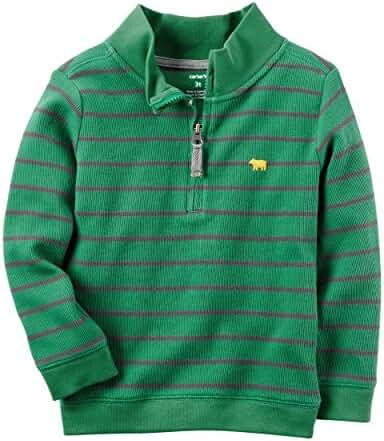 Carter's Boys Half-Zip Striped Sweater, Green/Grey,