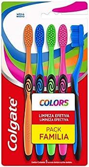Escova Dental Colgate Colors 5 unid, Colgate, Verde, Azul, Rosa e Laranja