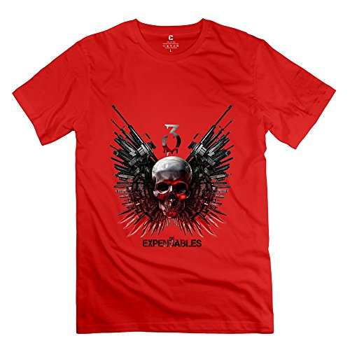 PTCY Men's Tee Fashion The Expendables 3 Skull XL Red