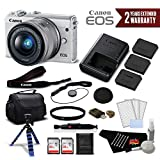 Canon EOS M100 Mirrorless Digital Camera with 15-45mm Lens (White) 2210C011 International Version - Deluxe Bundle