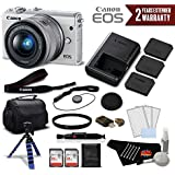 Canon EOS M100 Mirrorless Digital Camera with 15-45mm Lens (White) 2210C011 International Version (No Warranty) - Deluxe Bundle