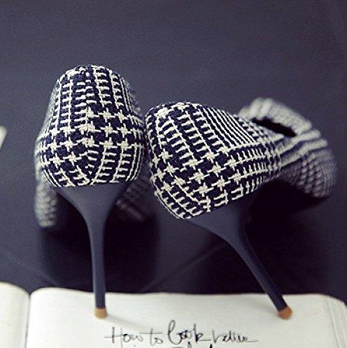 Femme Noir Haute Talons Mode Sexy Travail Cour Chaussures De Mariage Stripe Nightclub Party,Blue-5cm-EU:34/UK:2