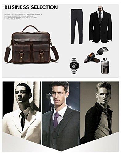 MATAGA Retro Leder Herren Handtasche Businesstasche Aktentasche Schulter Messenger Satchel Laptop Tasche 13 13,3 13.7inch (rote kaffee) grau