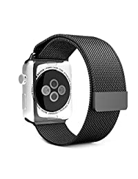 AmanStino AmanStino Watch Band Milanese Loop Stainless Steel Bracelet Smart Watch Strap with Unique Magnet Lock, No Buckle Needed for Apple Watch black 42mm