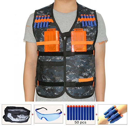 Kids Tactical Vest Sets for Nerf Toy Guns N-strike Elite - Camouflage (comes with Seamless Face Mask+Protective Goggles+50pcs Foam Darts+2pcs 5-dart Quick Reload Clip+2pcs Refill Darts Wrist Belt)