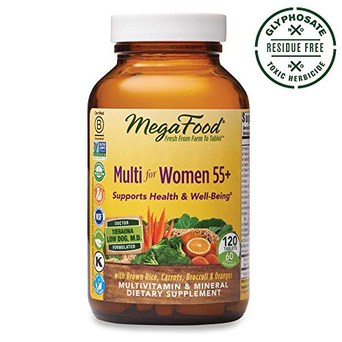 MegaFood, Multi for Women 55+, Supports Optimal Health and Wellbeing, Multivitamin and Mineral Dietary Supplement, Gluten Free, Vegetarian, 120 tablets (60 ()
